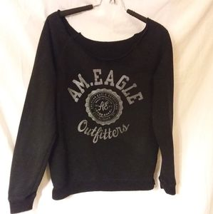 American Eagle Raw Neck Cropped Sweatshirt